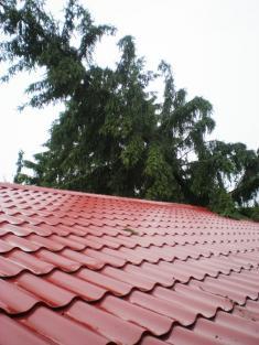 Následky vichřice z12. června 2010- střecha kulturního sálu